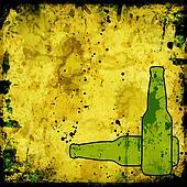 grunge background with beer bottles