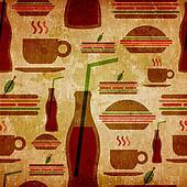Grunge fast food icons set pattern