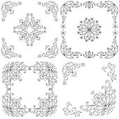 Set abstract floral backgrounds, outline