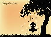 Silhouette of the girl on a swing