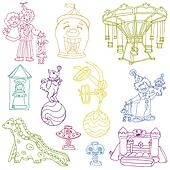 Vector set: Vintage Circus Elements - hand drawn doodles