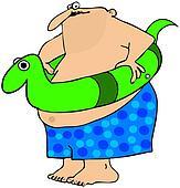 Fat man with a swim toy