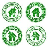 vector illustration of a set of green eco friendly house  stamps