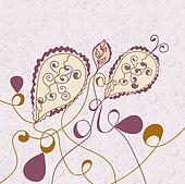 Abstract floral background with paisley elements