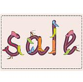 Sale sign made of shoes on the card