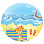 Sea icon with girl on the beach and lighthouse