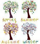 Set of season trees in childish style cartoon
