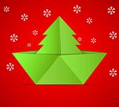 concept of the Christmas tree and origami boat.