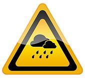 Rainy weather warning sign