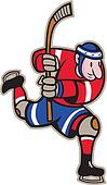 Ice Hockey Player Striking Stick