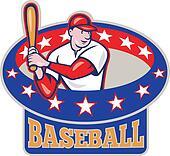 American Baseball Player Batting Cartoon