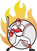 American Baseball Player Batting Ball