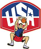 Basketball Player Dunking Ball USA