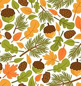 Seamless pattern with forest elements, scalable and editable vector illustration.
