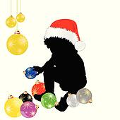 baby with christmas hat and decoration