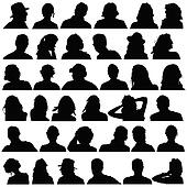 people head black silhouette vector
