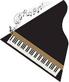grand piano with black notes wave
