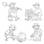 Cartoon: gardeners work, outline