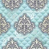 Seamless Rococo floral in blue