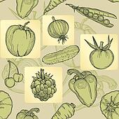 Seamless pattern of fruit, vegetabl