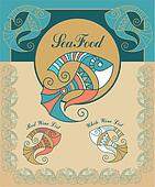 set vintage sea food menu elements