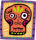 An illustration of an orange skull with purple border