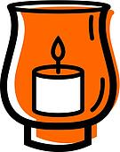 Illustration of a candle in a hurricane lamp