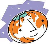 Smiling world globe