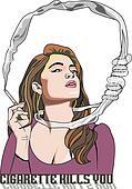 Cigarette Kills You, woman smoking, illustration