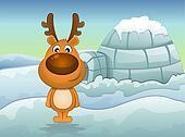 Reindeer in Winter, illustration