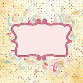 Vintage polka dot frame with rose flower. EPS 8