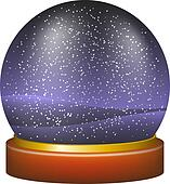 Snow globe with night landscape