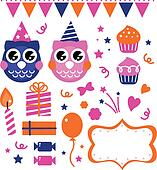 Owl birthday party design elements