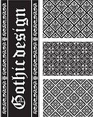 Collection of seamless black-and-white gothic floral vector text