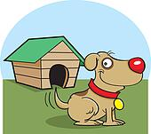 Dog with a dog house