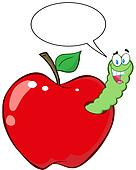 Happy Worm In Red Apple