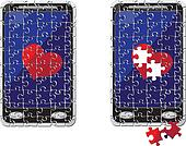 puzzle smart phone and heart