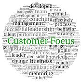 Customer Focus concept in word tag cloud