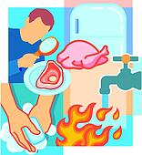 Collage of a person looking at meat with a magnifying glass, poultry, a fridge, a tap, flames, and a person using soap to wash hands