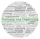 Planning and Organizing concept in word tag cloud