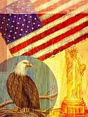 Collage depicting the United States with an eagle, flag, and the Statue of Liberty