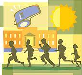 Children running, school and whistle montage