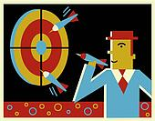 A businessman throwing darts