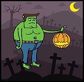 Frankenstein in Halloween night