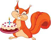 Squirrel holding cake