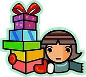 Illustration of a girl holding a stack of christmas gifts