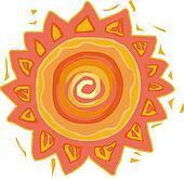 Illustration of a hot sun
