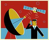 A man communicatng via satellite communication