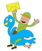 postman riding bird