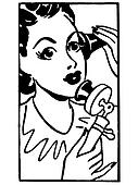 A black and white version of a vintage style portrait of a woman taking on an old fashioned telephone